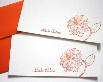 Personalized Letterpress Stationery Dahlias Fancy Script Tangerine Orange