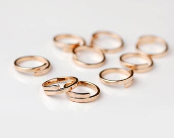 5 Pcs Wrap Ring Stamping Blanks Rose Gold Finish Rings Wholesale Jewelry Discount Affordable Bulk Rose Gold Plated Ring Supply - 5PRWB-R