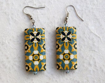 Earrings blue and yellow, Arabesque floral pattern, for her, Yellow and blue earrings, Arabesque floral motive for her