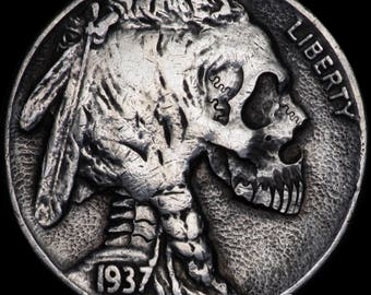 MISSING JAW #6 Hand Carved Buffalo Nickel coin human skull - Hobo nickel by Seth Basista SB carvings engraved sculpted