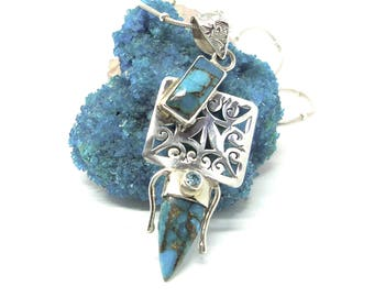 ANNIVERSARY SALE.  Sterling Pendant Copper Blue Turquoise & Laser Cut Filigree Sterling Silver Women's Pendant FAP15046