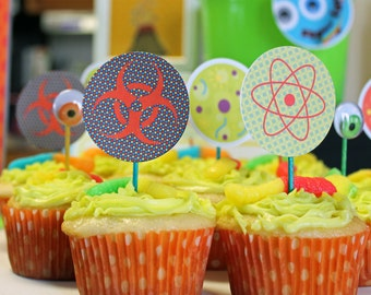 Science Boys Printable CUPCAKE TOPPERS Party Circles Instant Download