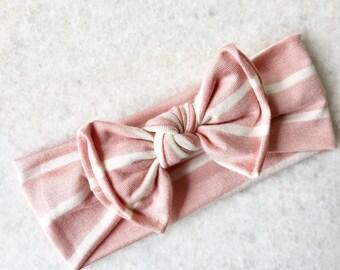 Banda Bow knot Rayas Rosa y blanca