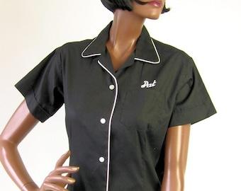 50s 60s Womens Bowling Shirt Vintage Black Cropped Blouse Contrast Trim Medium