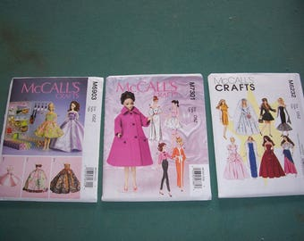 """McCalls 6903 or McCalls 7301 or 6232..Barbie Doll Clothing Patterns...Dresses & Accessories for 11 1/2"""" Doll...New Uncut 2014/15 Pattern..."""