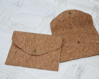 Cork lined sequined Cork clutch. For photos / postcards / 13 x 18 cm to order