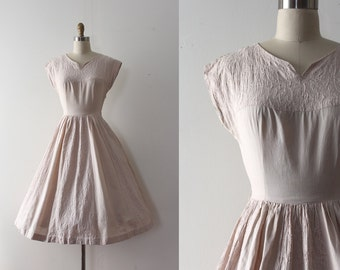 CLEARANCE vintage 1950s Carole King dress // 50s creamy beige cotton day dress