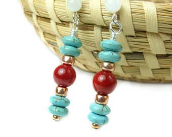 Turquoise Earrings, Turquoise Coral Dangles, Southwest Style Earrings, Boho Earrings, Handmade Beaded Jewelry, Nature and Desert Inspired