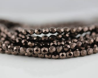 50 Chocolate Bronze, 3mm Czech firepolish glass faceted round beads  (FP-3M-75)