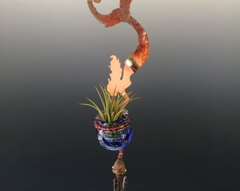 Copper Mermaid with Hand Blown Glass Bottle & Obsidian Wind Chimes - Air Plant Holder or Essential Oil Diffuser -  Hanging Sculpture