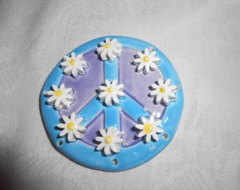 Peace Sign Pine Needle Basketry Base  with daisy flowers 2.5''