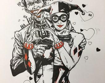 Joker and Harley Quinn original art, ink