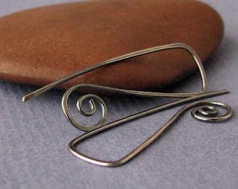 Handmade Oxidized Earrings, Antiqued Long Triangle Swirls, Sterling Silver Earwires
