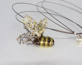 Bee necklace, wire wrapped pendant, black gold, insect necklace, art jewelry, modern boho, Summer, Spring, birthday, unique mothers day gift