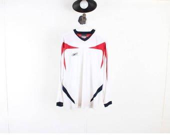 Vintage REEBOK Sweatshirt/Vintage long sleeve t-shirts/Vintage tee/old school/Vtg Sportswear/Vintage Activewear/Korea/White/D38 Men Size M