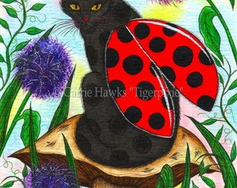 Ladybug Fairy Cat Art Logan Mushroom Fantasy Cat Art ACEO / ATC Mini Print Cat Lover Gift