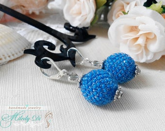 Christmas gift-for-wife Dangle drop earrings Statement jewelry for her Best friend birthday gift Blue woman earrings Seed beaded jewelry