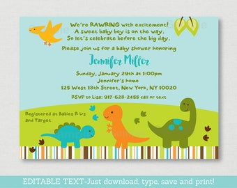 Cute Dinosaur Baby Shower Invitation / Dinosaur Baby Shower Invite / Dinosaur Baby Shower Theme / INSTANT DOWNLOAD Editable PDF A173
