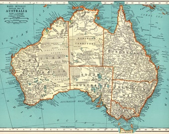 1937 antique map of australia vintage australia map 1930s map gallery wall art map collector gift for traveler anniversary birthday 8937