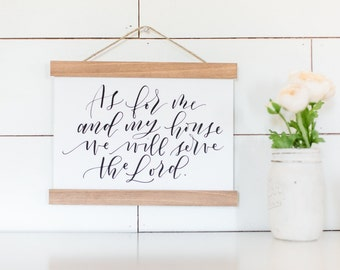 "As For Me & My House, We Will Serve The Lord // Cotton Canvas Wall Banner Scripture with Wood Trim - Measures Approx. 9"" x 12"""