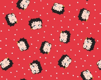 Betty Boop Fabric: Camelot Betty Boop 1930 Boop Love Betty Heads Toss with white dots on Ruby Red  100% cotton Fabric by the yard (CA167)