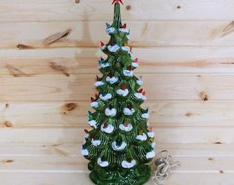"Vintage 24"" Musical Atlantic Mold Ceramic Christmas Tree"