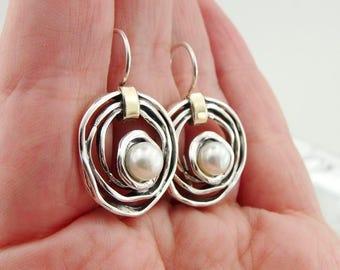 925 Silver Pearl earrings, Silver and Gold earrings, Round Pearl earrings, Yellow gold Pearl earrings, Fine Pearl Earrings (ms 1447e)