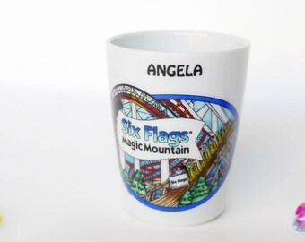 Six Flags, Magic Mountain, Shot Glass, Free Shipping, White Ceramic Barware, Theme Park Barware, Vintage Shot Glass, Gifts Under 10