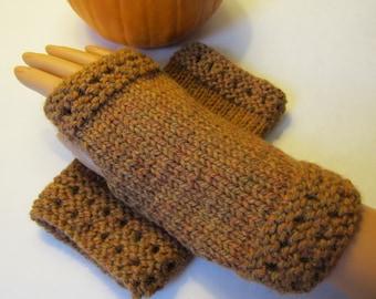 Gold Alpaca Blend Fingerless Texting Mittens, Handwarmers, Hand Warmers, Gloves, Gold Tiger's Eye Color, Handmade
