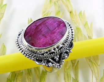 Ruby  and 925 Sterling Silver Ring  --  4288