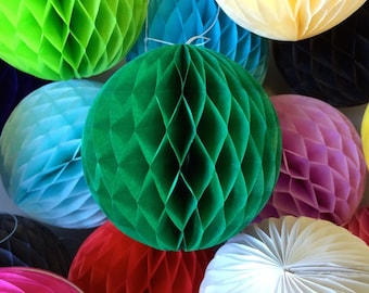 Green 8 Inch Honeycomb Tissue Paper Balls - Paper Party Decor Decoration Supplies
