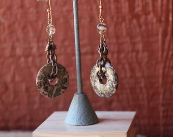 Leopard inspired stone round earrings with mixed media and chain