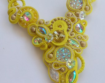 Necklace soutache yellow handmade.