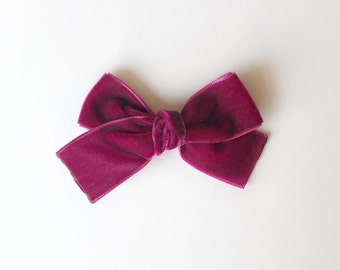 Cranberry Mini Velvet Bow