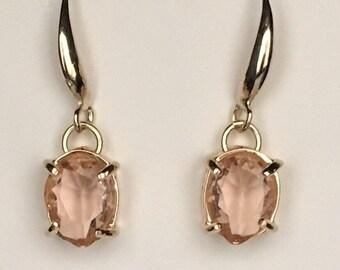 Morganite Earrings, Morganite Gold Earrings, Peach Drop Earrings, Drop Earrings, Morganite, Peach Morganite Earrings, Morganite Engagement