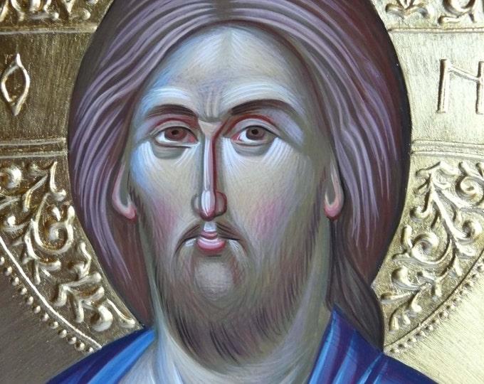 Featured listing image: Jesus Christ, orthodox icon, hand painted, byzantine art, Greek icon, Jesus icon, orthodox gift, iconography, religious gift, icon painting,