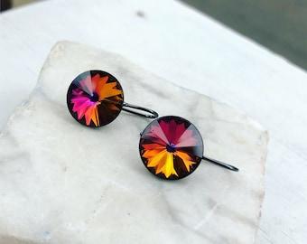 Crystal Earrings, Swarovski Crystal Earrings, Rainbow Earrings, Rainbow Crystal Earrings, Sensitive Ears, Bridesmaid Earrings