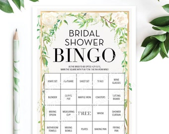 Bridal Shower Bingo Game - 76 Unique Game Sheets - Wedding Shower Game - Shower Bingo - Graceful Greens - Bridal Bingo Instant Download
