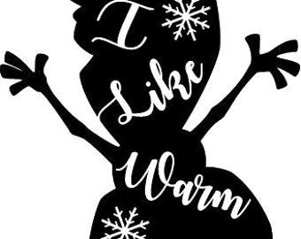 Olaf likes Warm Hugs Vinyl Decal Sticker