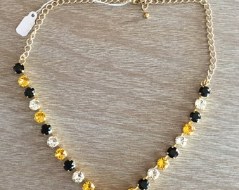 8MM Jet Black, Sunflower Yellow and Crystal Swarovski Necklace