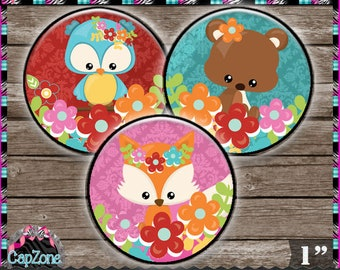 """Autumn Cuties, Cute Woodland Animals - INSTANT DIGITAL DOWNLOAD - 1"""" Bottlecap Button Bow Images (4x6) Digital Collage Sheet"""