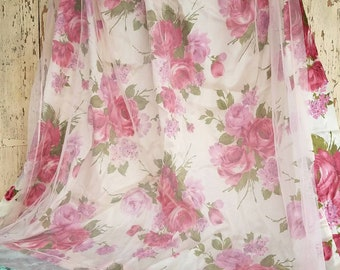 Cabbage Rose Curtain Panel SET With Pink Net Overlay - Satin Window Treatment, Pink + Red Rose Decor, Romantic Window Dressing, Shabby Chic