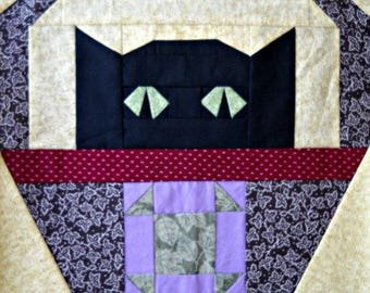 Shoo-Fly Cat Quilt Block Pattern, by Curlicue Creations Paper Pieced Cat Quilting Pattern