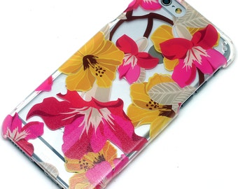 Tropical Flowers Floral Henna Transparent Clear Phone Case iPhone 6, 7, SE, 6 Plus, 7 Plus, 6S, 5, 5C, 5S, Galaxy S6, S7, Note 5, Note 7