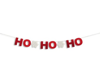 HO HO HO banner, Holiday Banner, Christmas decoration, Christmas Glitter Garland