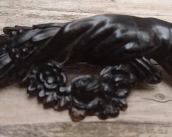 Vintage carved jet mourning brooch