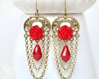 Red Earrings long bohemian earrings for her red chandelier earrings long dangle earrings chain Earrings red Boho Earrings red Drop Earrings