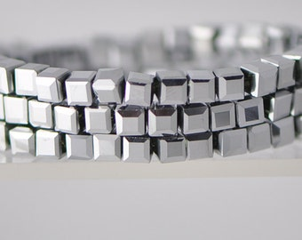 95pcs Silver Cube Crystal Glass beads 4mm Faceted -FZ0431