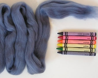 MERINO WOOL ROVING / Blue Gray (1 oz) / needle felting wool / wet felting / merino wool top / gray blue wool / wool for photography
