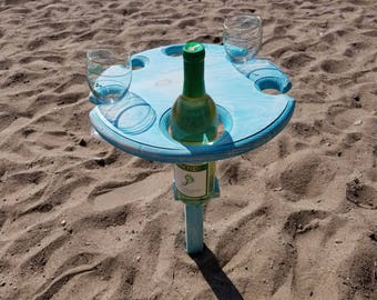 Folding Wine Table - Shabby Chic - Holds 4 glasses and a bottle of wine. Great for beach & wine lovers